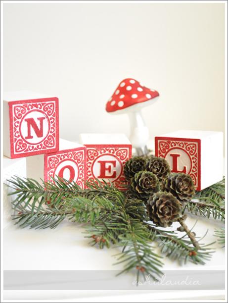 vintage francuskie klocki alfabet świąteczna dekoracja / vintage christmas decoration