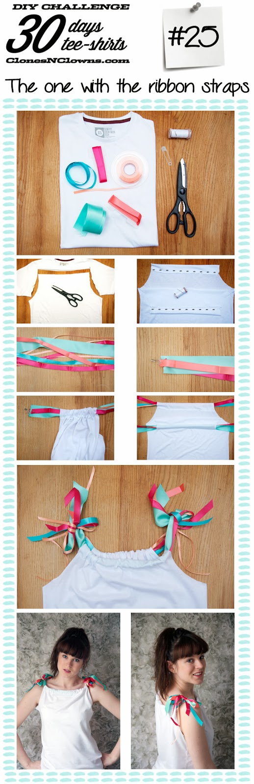 Tee-shirts with ribbons straps