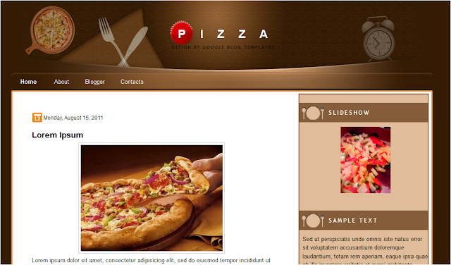 Pizza Food Theme Blogger Template