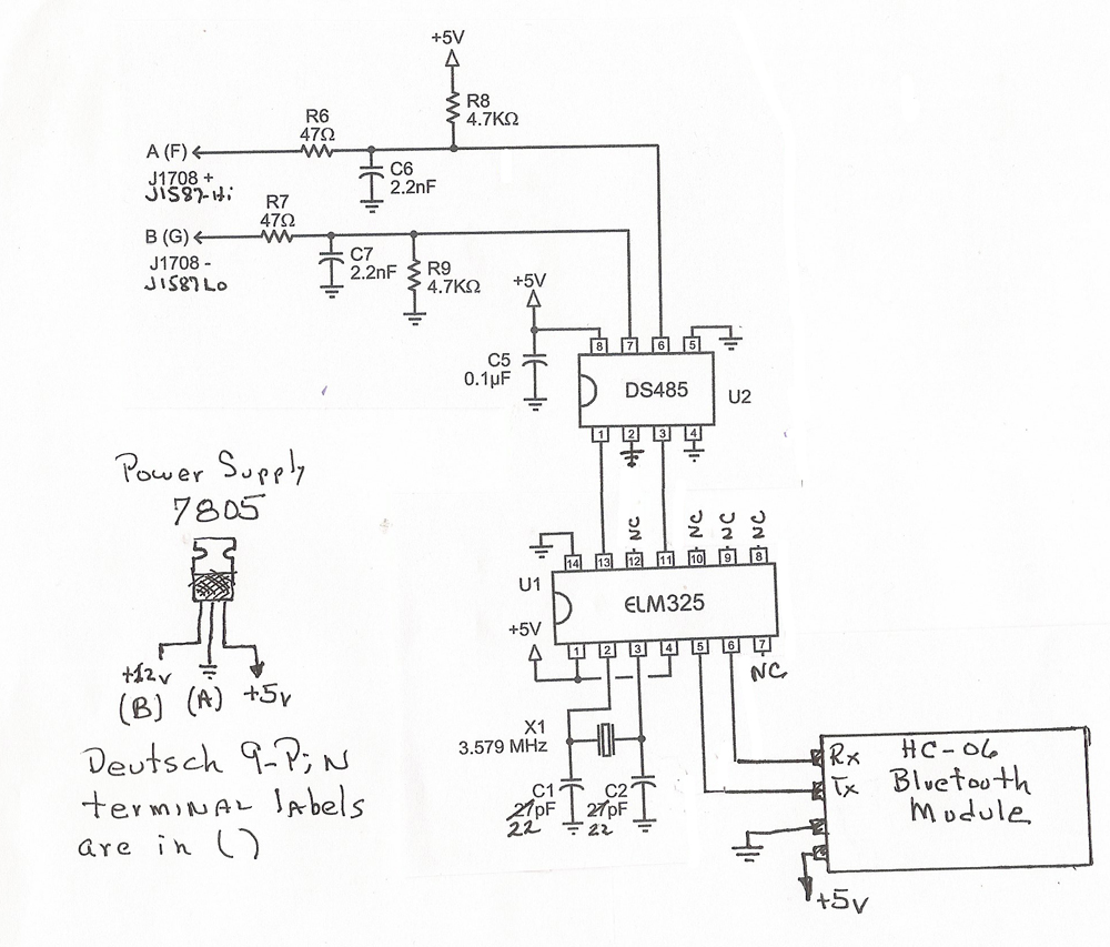 J1587 Scanner For Motor Home A Diy Data To The Pc See Following Wiring Diagram Sample Of How Datasheet Provides Example Circuit Schematics Usb And Rs232 Computer Connections I Modified Use Bluetooth Module