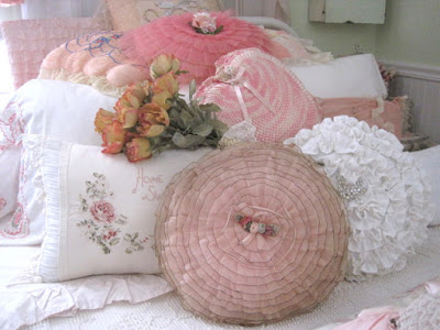 Vintage ribbonwork pillows