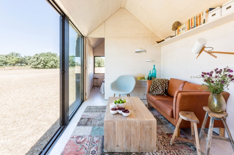 Living room area of a portable home
