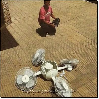 Un drone bricolé maison avec des ventilateurs