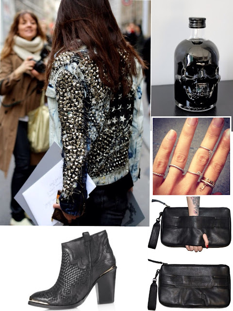 Paige Premium Woven Boots TOPSHOP, Studded Jeans jacket, Clutch, rings