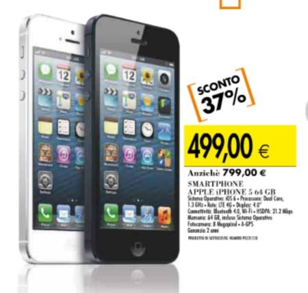 Da Ipercoop a prezzo sottocosto l'iPhone 5 64 GB a 499 euro