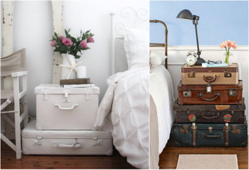 17 Apart: DIY Decor: Stacked Vintage Suitcase Nightstand