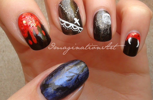 nail art vamp vampire vampiro twilight eclipse buffy design disegno sangue blood