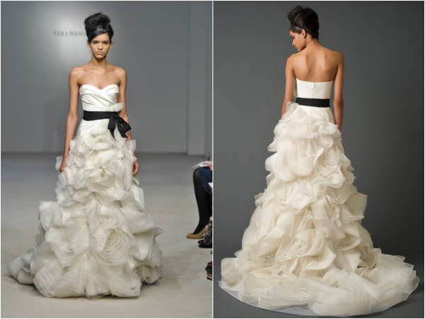 Vera Wang ruffled wedding gown via www.lemagnifiqueblog.com