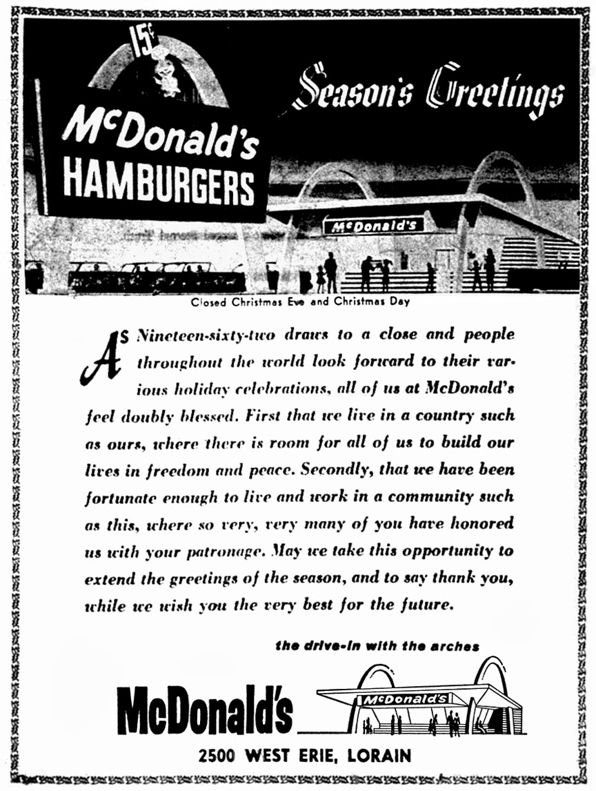 Brady\'s Lorain County Nostalgia: McDonald\'s Holiday Ad – Dec. 1962