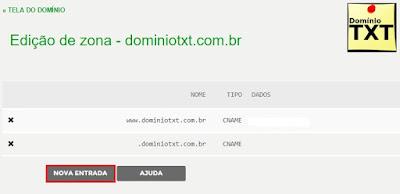 DominioTXT - RegistroBR Configurar DNS