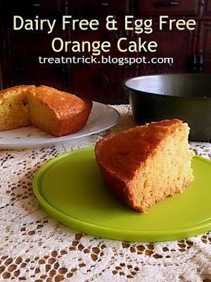 Dairy Free and Egg Free Orange Cake Recipe @ http://treatntrick.blogspot.com