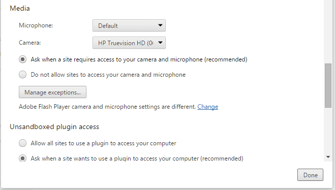 Allowing media device access in Chrome settings