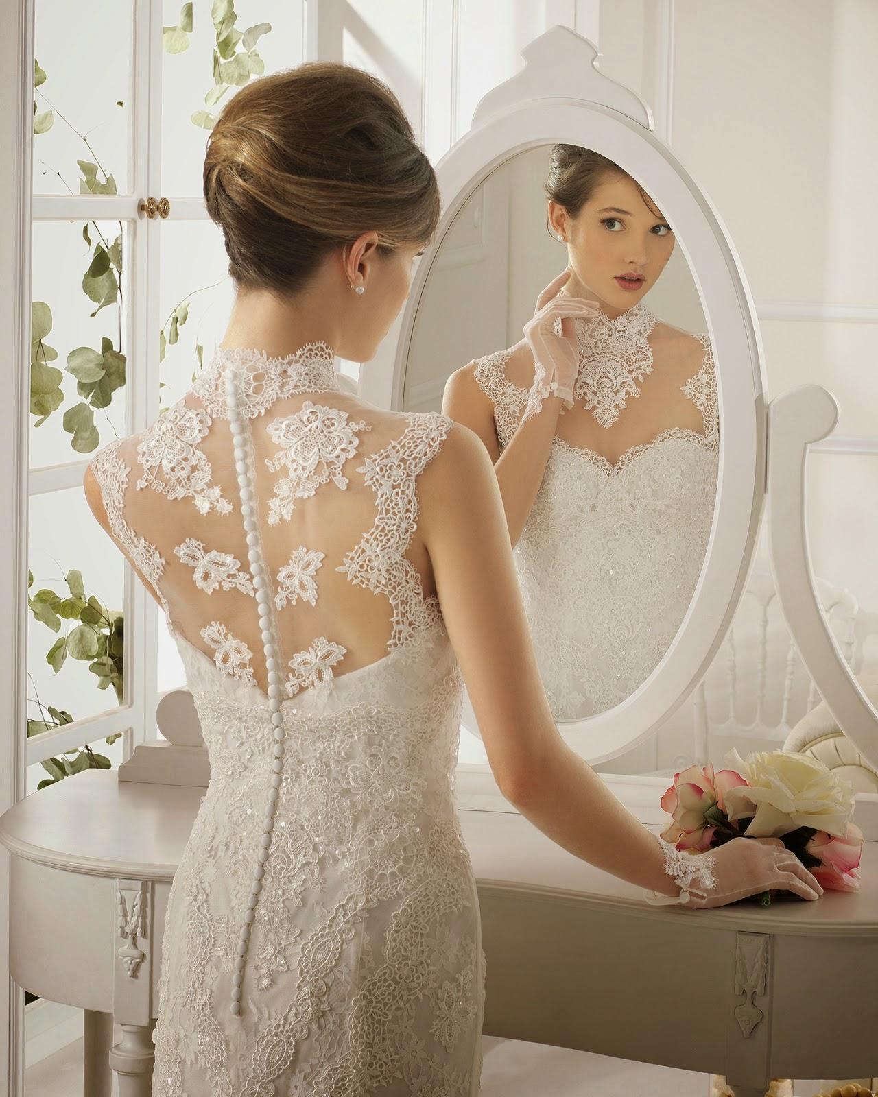 Vestido novia encaje guipur