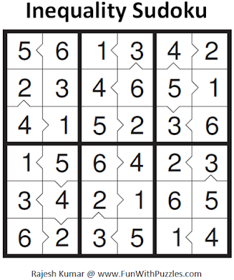 Inequality Sudoku (Mini Sudoku Series #50) Soluiton