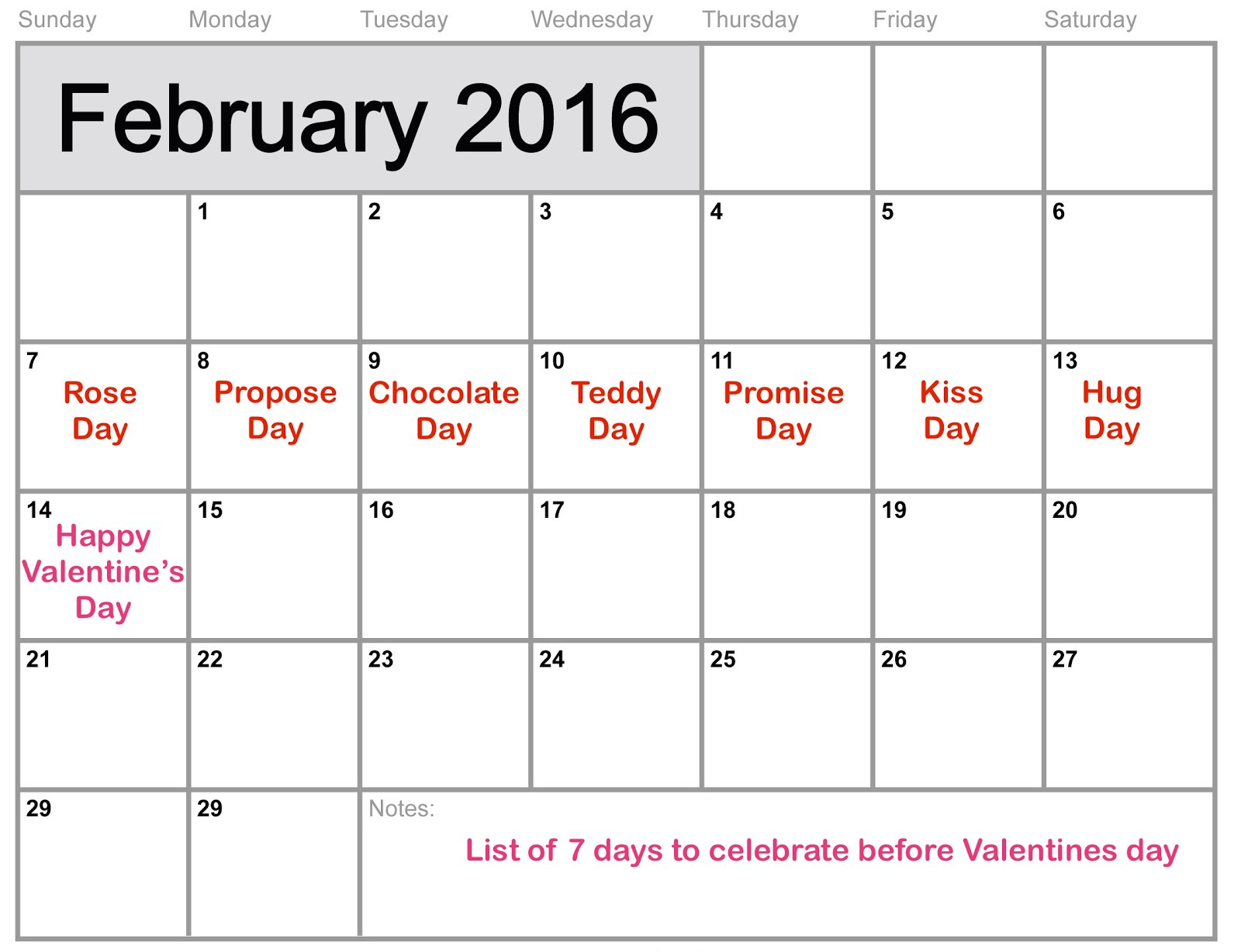 List Of The 7 Days Celebration Before Valentines Day 2021