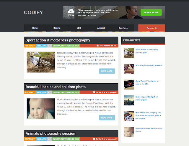 Codify Best WordPress Converted Free Blogger Templates of 2013