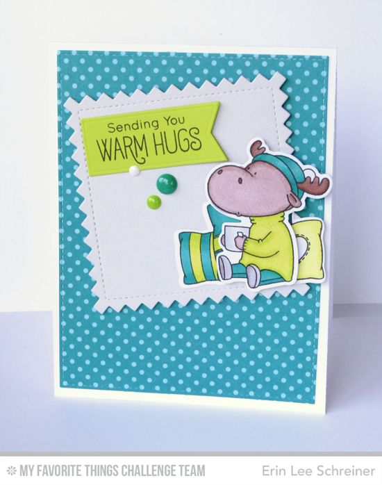 Warm Hugs Card by Erin Lee Schreiner featuring the Birdie Brown Merry Christmoose stamp set and Die-namics and Stitched Pinking Edge Square STAX Die-namics #mftstamps