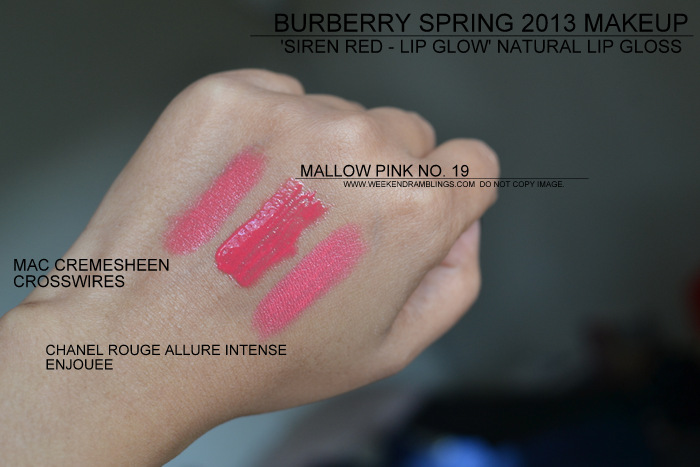 Burberry Spring Summer 2013 Makeup Collection Siren Red Indian Beauty Blog Lip Glow Natural Lipgloss Swatches Mallow Pink 19 Coral 22 20 Sweet Pea Chanel Enjouee MAC Crosswires Peach Pink