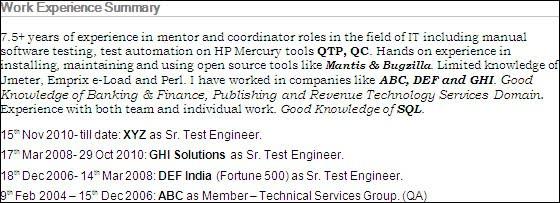 Qtp Resume Sample 22.06.2017