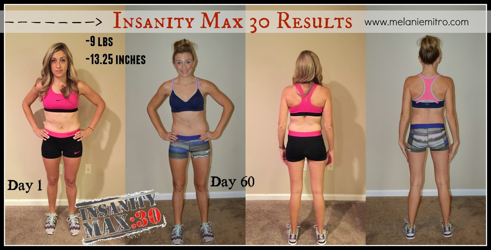 Insanity Max 30 Test Group, Melanie Mitro, Results, Transformation Story, Before and After Pictures, Shaun T, Nutrition, Meal Plan