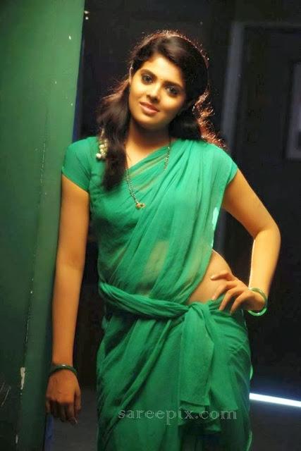 Shravya in green transparent saree