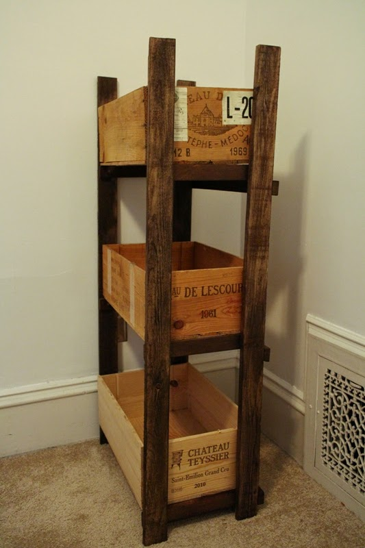 Sweet inspired home wine crate shelf for fabric storage for Small wine crates
