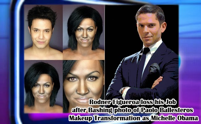 Rodner Figueroa loss his Job after Bashing photo of Paolo Ballesteros Makeup Transformation as Michelle Obama