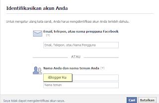 Lupa kata sandi akun facebook