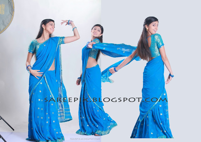 praneetha in blue half saree