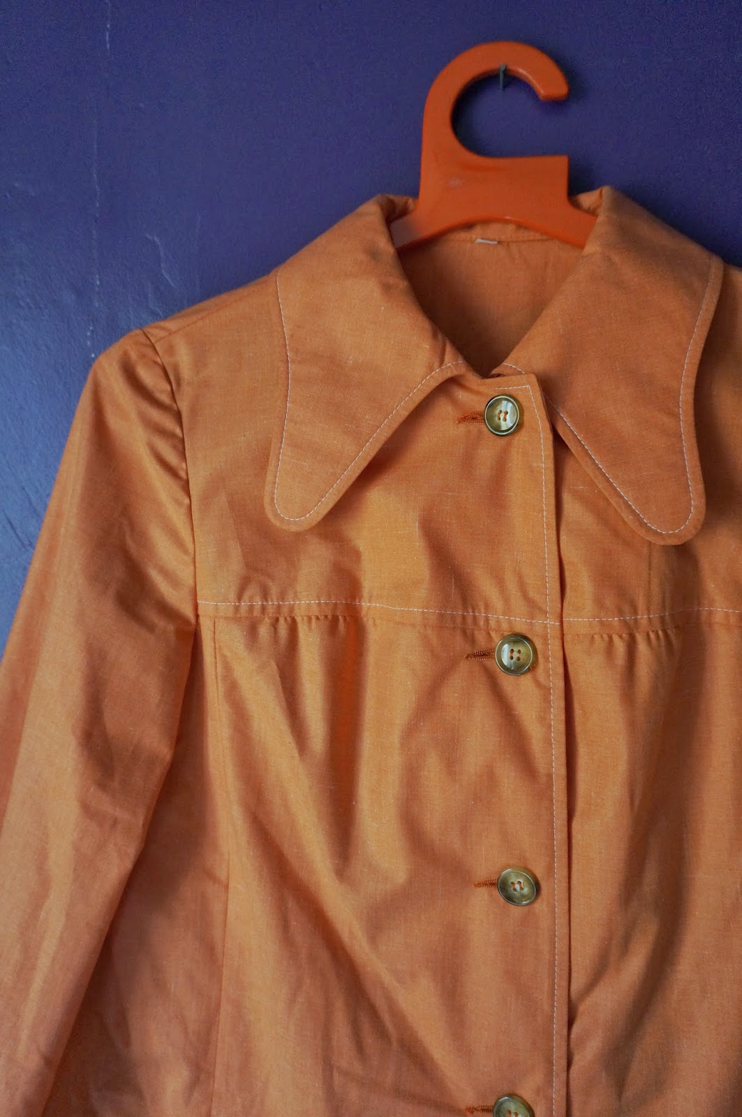 vintage 70s lightweight coat penny dog ear collar light orange mod 1970 twiggy