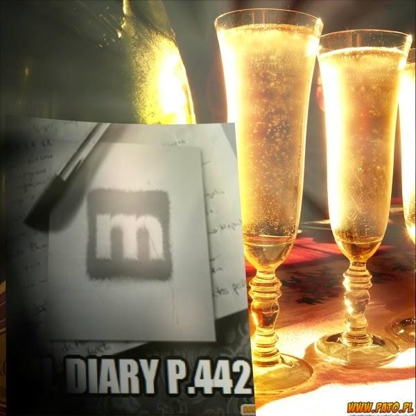 bicchieri pieni pronti a brindare il nuovo anno e pag 442 del ns diario