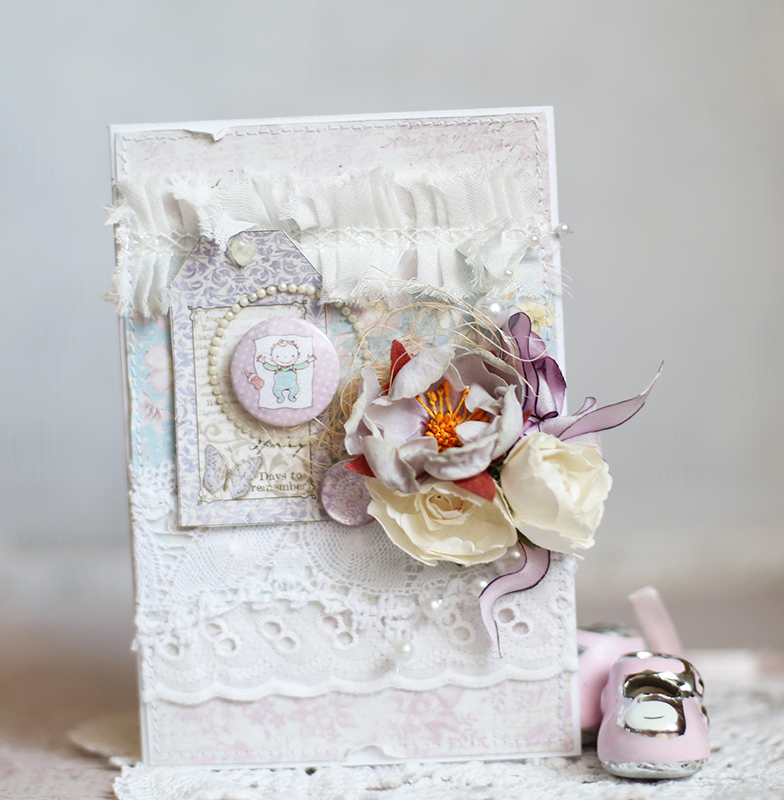 shabby chic baby girl card using maja design papers