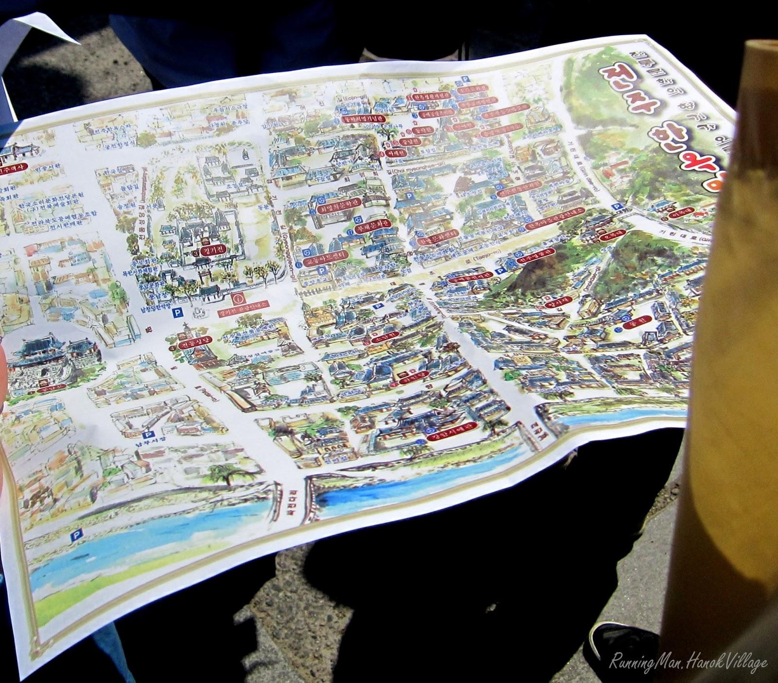 Running Man Game In Korea Jeonju Hanok Village Footprints Of Erica - Jeongju map