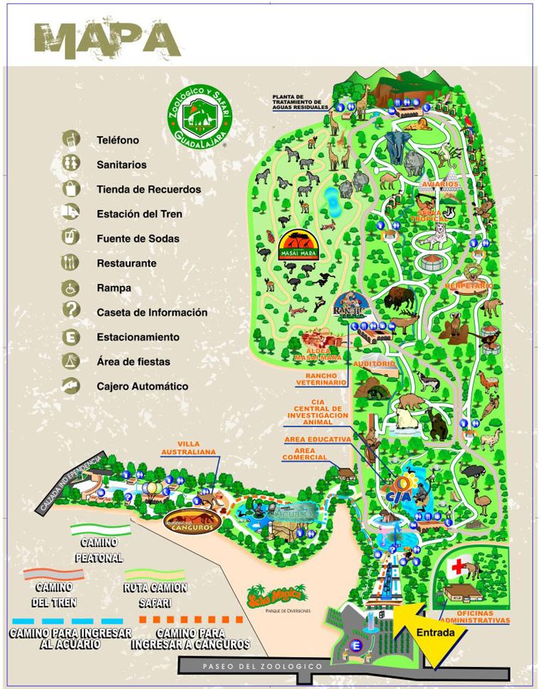 Safari Run Plano >> ZOOLÓGICO GUADALAJARA: Mapa