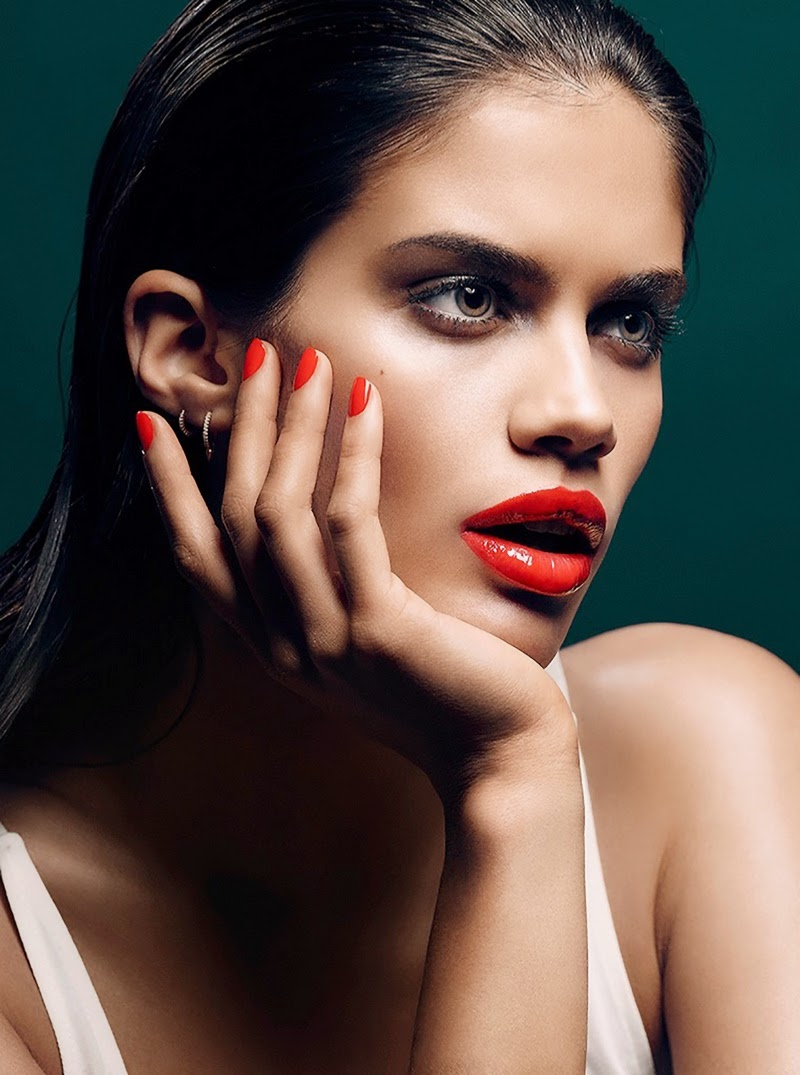 Sara Sampaio shows off bright lip colours for Stella Magazine