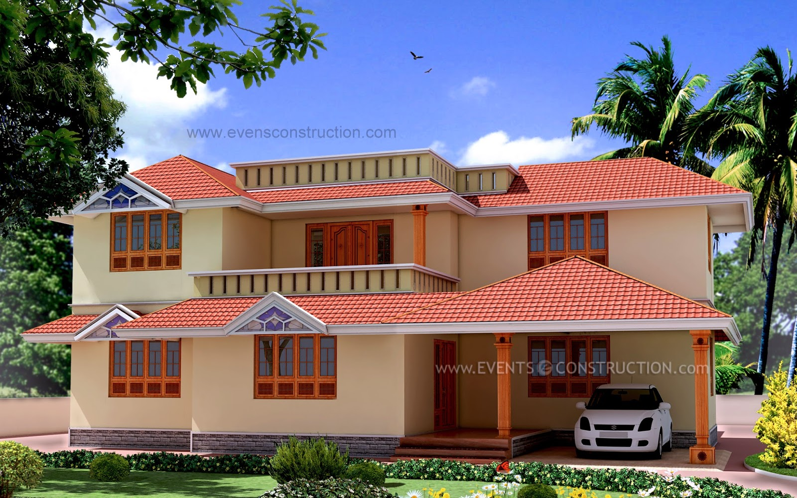 Evens construction pvt ltd four bedroom house elevation for 2500 sq ft home