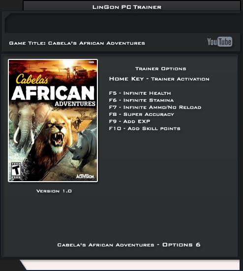 Cabela's African Adventures v1.0 Trainer +6 [LinGon]
