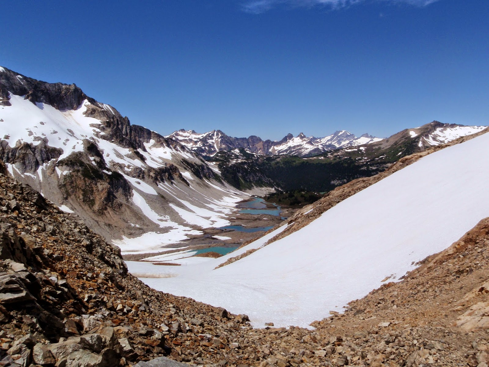 Upper Lyman Lakes from Spider Gap @ Glacier Peak Wilderness
