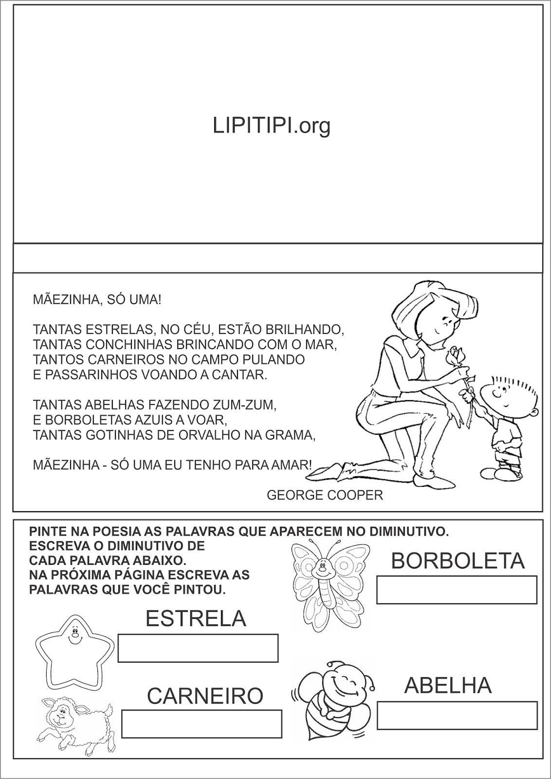 Dia das Mães Atividade Poesia e Graus do Substantivo Diminutivo