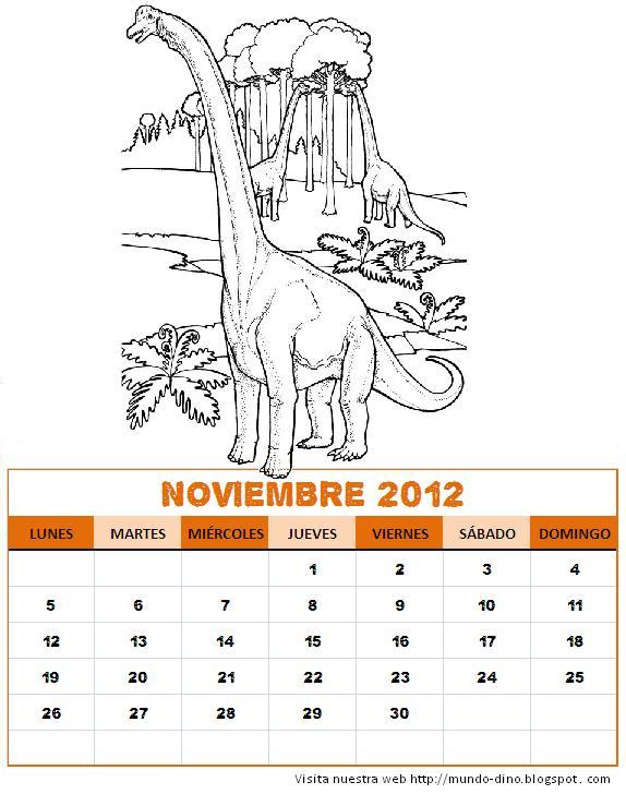 Dino calendarios para colorear : Dinosaurios del mundo