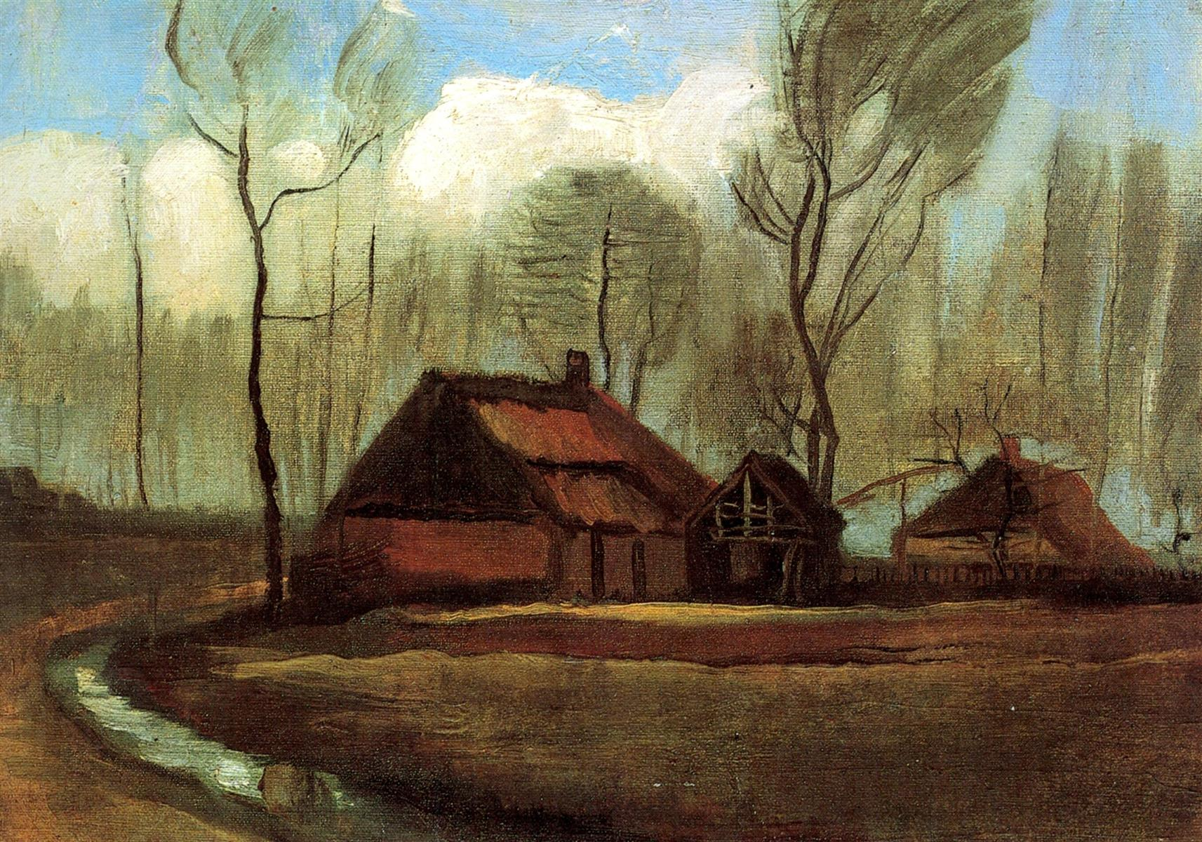 Farmhouse Among Trees by Vincent van Gogh
