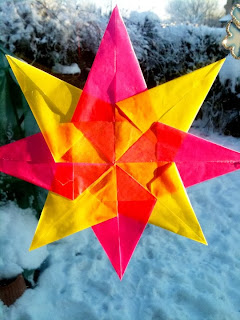 Waldorf style window star made from waxed paper