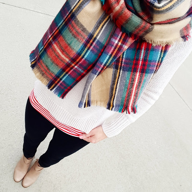 Old Navy Sweater (similar here and here) // Banana Republic Striped Tank (similar - only $3, regular $15!) // 7 For All Mankind Jeans - 50% off! // Merona Scarf - on sale for $12! // Cole Haan Calixta Booties - 60% off!