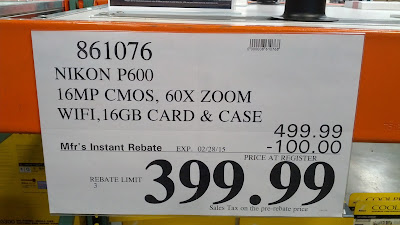 Costco offers additional savings with a rebate for the Nikon Coolpix P600 16MP, 16GB memory card, and case bundle