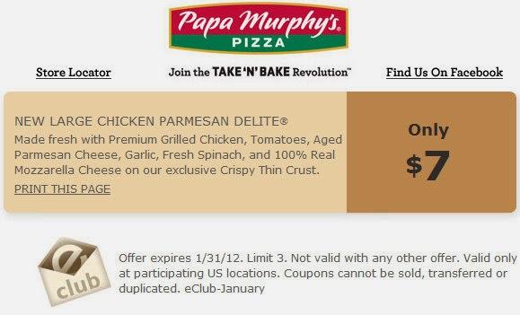 Papa murphy's pizza coupons