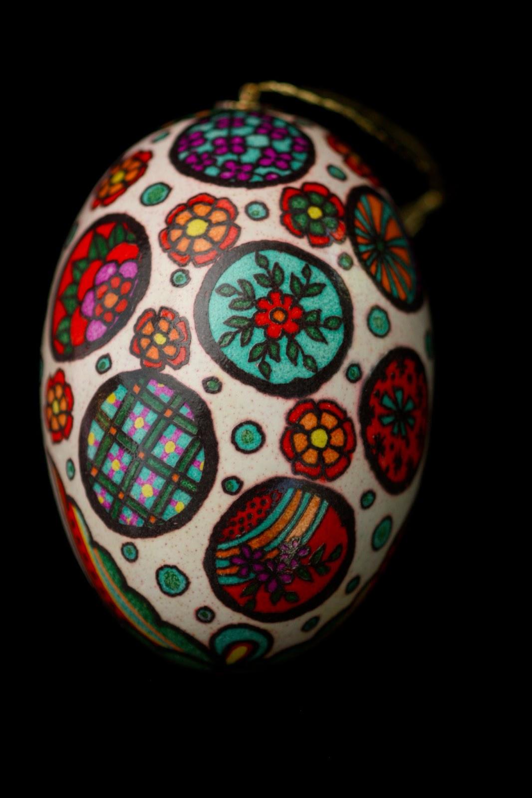 Dia de Los Muertos Pysanky Batik Eggshell, Easter Egg, Russian Egg, Folk Art, Ornament