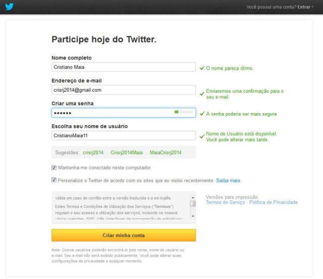 como criar Twitter