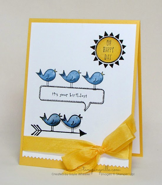 Sweet birthday card with Stampin' Up! Hello Love stamp set by Stampingville