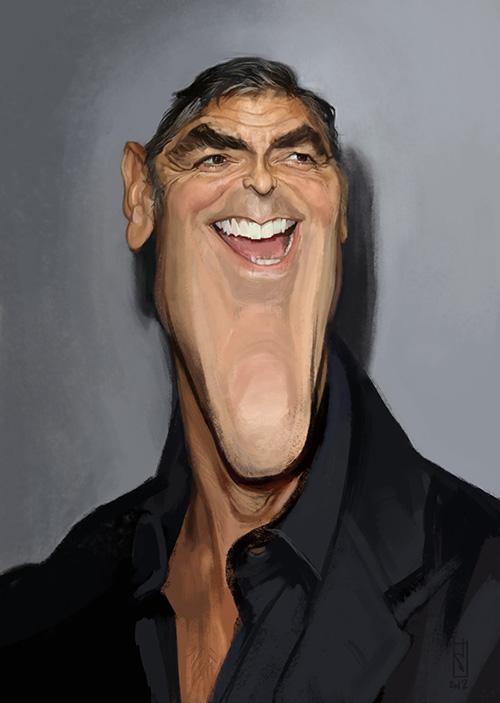"Caricatura de ""George Clooney"" por Alberto ""Sting"" Russo"