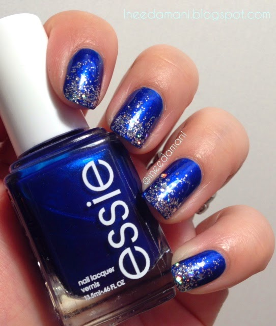 Essie Aruba Blue And Silver Glitter Grant Nails